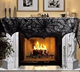 Halloween Decoration Fireplace Scarf Black Lace Spider Mantle for Home Halloween Party Decoration Halloween Ornaments