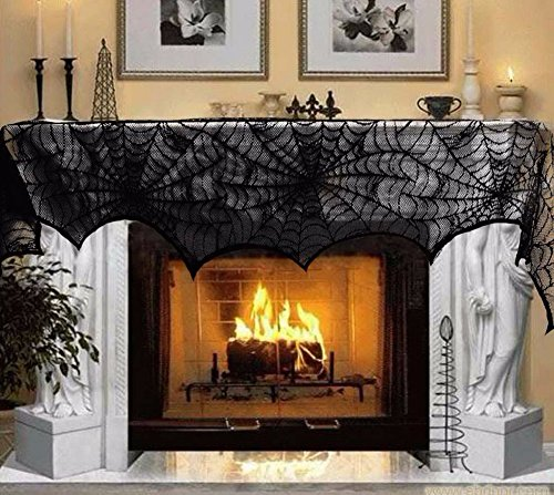 Halloween Costume Ideas For Work Party (Halloween Decoration Fireplace Scarf Black Lace Spider Mantle for Home Halloween Party Decoration Halloween Ornaments)