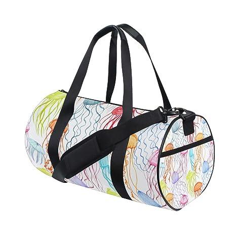 2f2fe76b76 WowPrint Sports Gym Bag Colorful Ocean Animal Jellyfish Waterproof Handbag  Yoga Bag Shoulder Tote Weekend Bag
