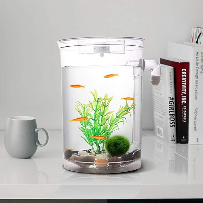 POPETPOP Acuario Conveniente para el Escritorio de Oficina en casa (Tanque Redondo, sin batería): Amazon.es: Productos para mascotas
