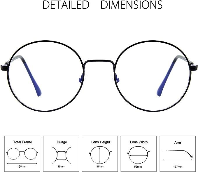 GQUEEN Gafas de computadora con bloqueo de luz azul, fatiga ocular antideslumbrante con marco de metal retro círculo redondo, GQ40: Amazon.es: Electrónica