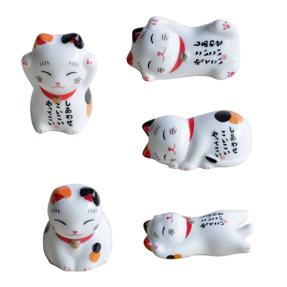 Ceramic Lucky Cat Chopsticks Holder Stand(5pc/Set) Jerome10Dan