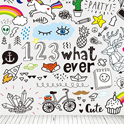 CSFOTO 5x5ft Background For Birthday Party Decor Hand-drawn Collection of What Ever Children Like Photography Backdrop Cute Unicorn Bicycle Rainbow Rocket Kid Boy Photo Studio Props Vinyl Wallpaper - Kid Drawn Classroom