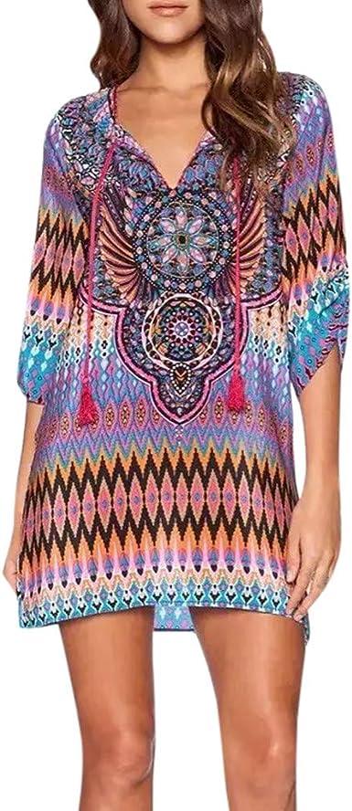 Plus Size Women Boho Sleeveless V Neck Sundress Ladies Holiday Tunic Top Dress