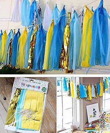 Premium Tissue Paper Tassels, Party Tassels DIY Garland Banner for Wedding, Baby Shower, Birthdays, Photo Props, Event and Party Supplies DIY Kits (Green + Pink) Shallylu