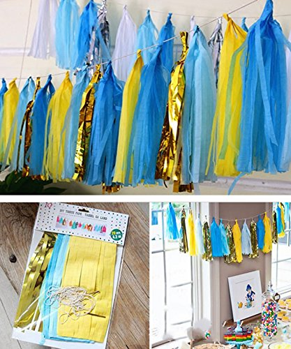 Shallylu 20Pcs Tissue Paper Tassels Party Garland Banner for Wedding, Baby Shower, Birthdays, Gold Garland Bunting Pom Pom, Bachelorette Party Decorations DIY Kits (Baby Blue Sequins)