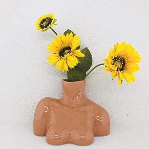 Body Vase Female Form Vase, Modern Art Décor, Flower Ceramic Vase for Home Office Décor, Boho Décor, Sculpture Vase (Brown Tone)
