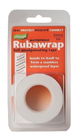 ULTRATAPE WATERPROOF RUBAWRAP SELF AMALGAMATING TAPE 5M X 25MM WHITE
