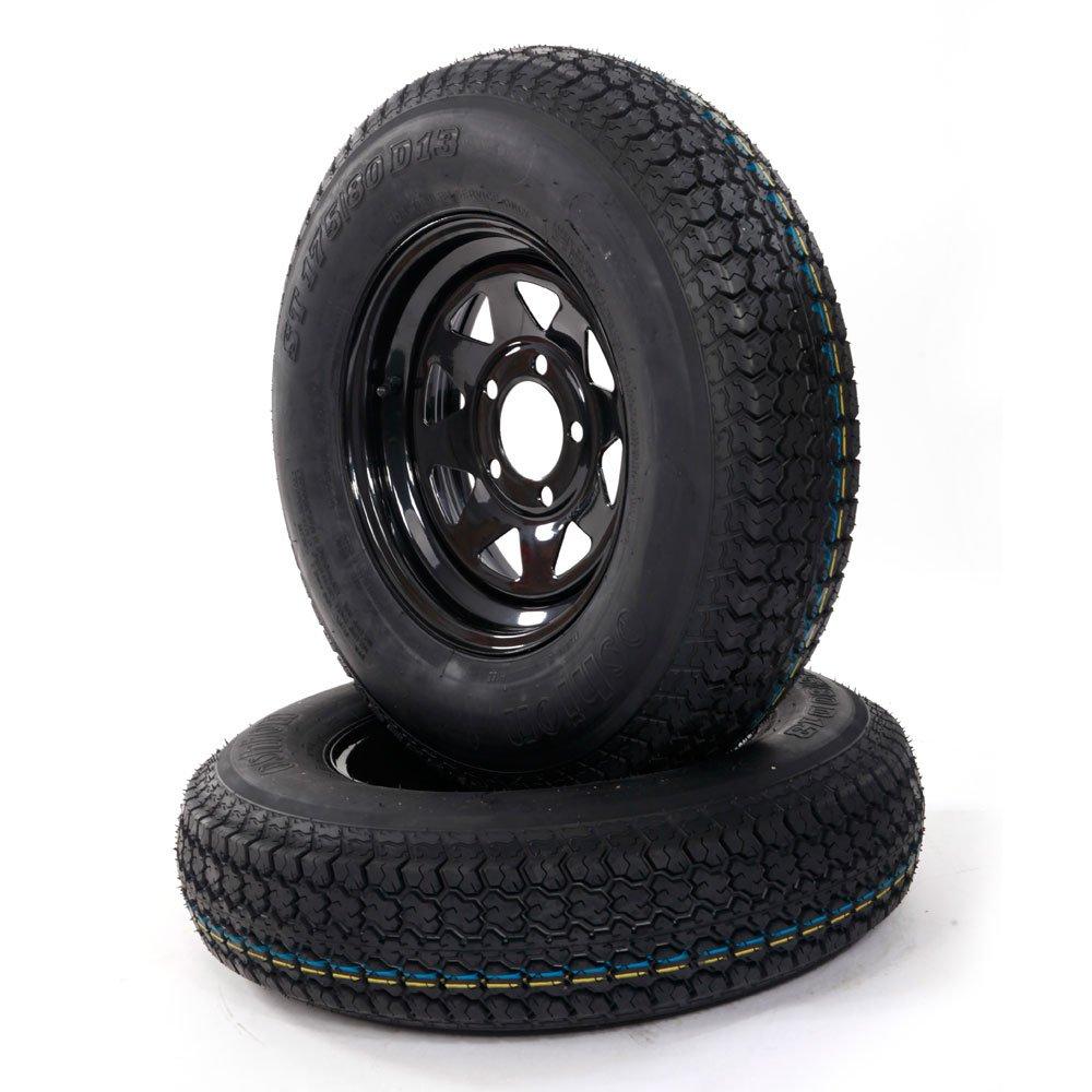 2pc 13'' Black Spoke Trailer Wheel with Bias ST175/80D13 Tire Mounted (5x4.5 bolt circle)