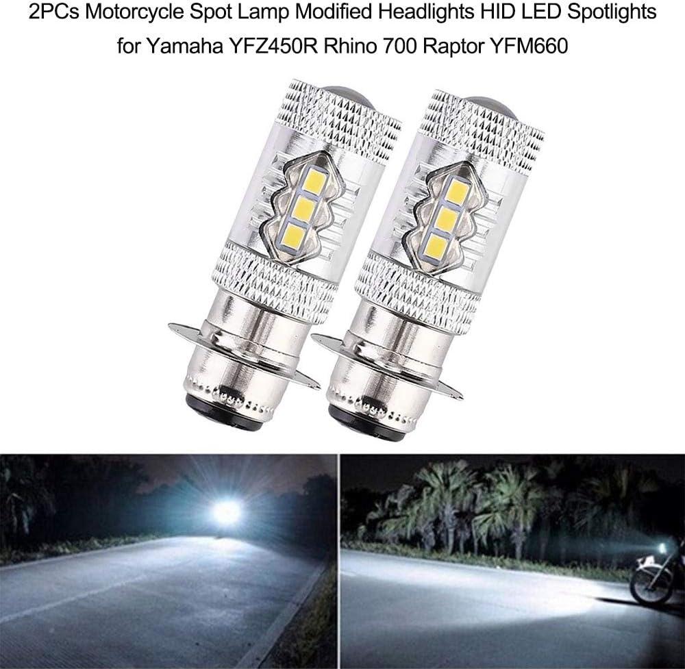 2 PCs Moto Spot Lampe Modifi/é Phares HID LED Spots pour Yamaha YFZ450R Rhino 700 Raptor YFM660