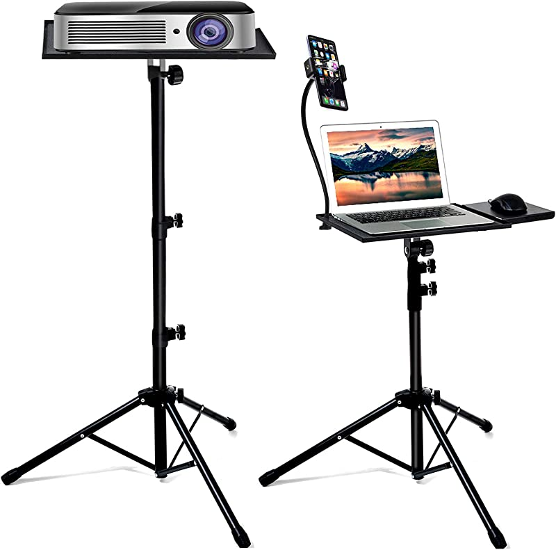 Bulalu Laptop Tripod Stand, Portable Projector Stand, Detachable DJ Device Stand, The Outdoor Computer Desk Stand with Adjusted Height from 18 to 47 Inch, Apply to Stage or Studio
