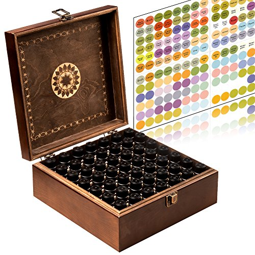 Beautiful Essential Oil Storage Box 49 Bottle - Holds 5-15ml & 10ml Roller Bottles - Free Roller Bottle Opener & 192 EO Labels - Wooden Oil Case ()