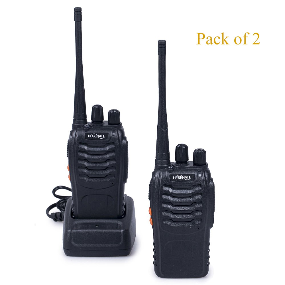 HESENATE HT-U666 Two Way Radio UHF: 400-470MHz 16-Channel Rechargeable Professional Transceiver LED Flashlight Walkie Talkie (Pack of 2)