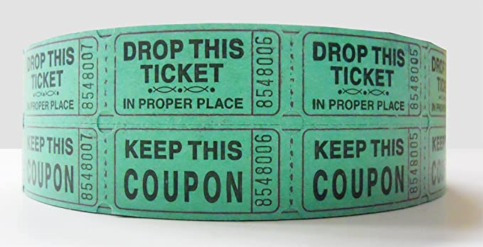 AmazonCom Green Double Raffle Ticket Roll Office Products