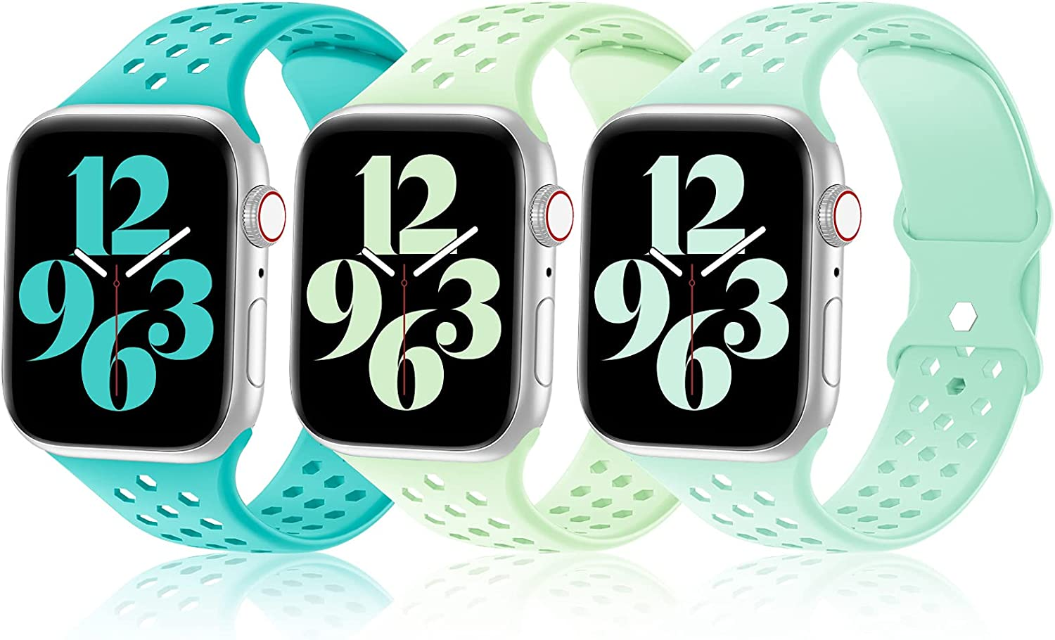 Hehighti 3 Pack Sport Silicone Bands Compatible with Apple Watch Band 38mm 40mm 42mm 44mm Women Men,Soft Unique Hexagonal Fashion Design Replacement Straps for iWatch Series 6 5 4 3 2 1 SE