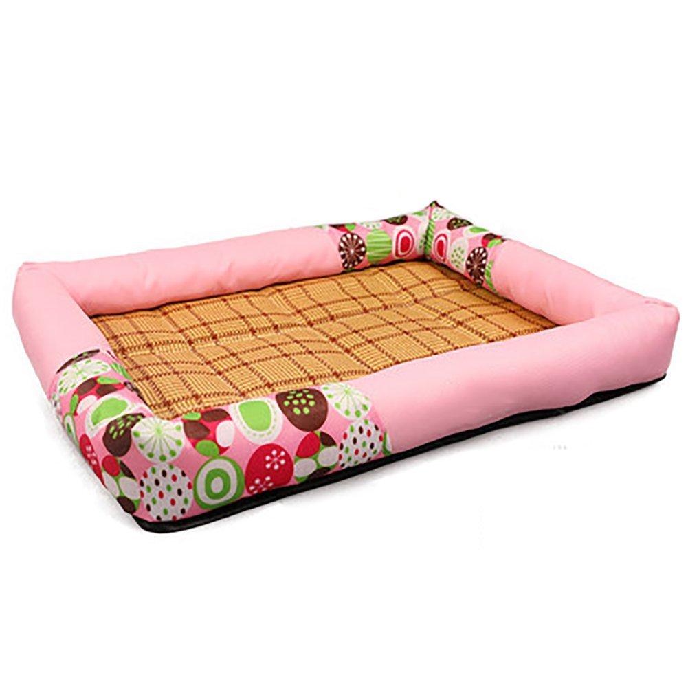 Ari_Mao Forniture per cani Summer Cool Mattress Kennel Pet Bed Cat Litter Materassino traspirante in rattan (colore  rosa, Taglia  XL)