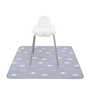 """Splat Mat for Under High chair - One the baby 51"""" Waterproof, Anti-slip, Machine Washable, Spill n Splash Mat to Protect Floor and Carpet, Portable Play Mat, Food Mat and Table Cloth, Art,Craft,Picnic"""