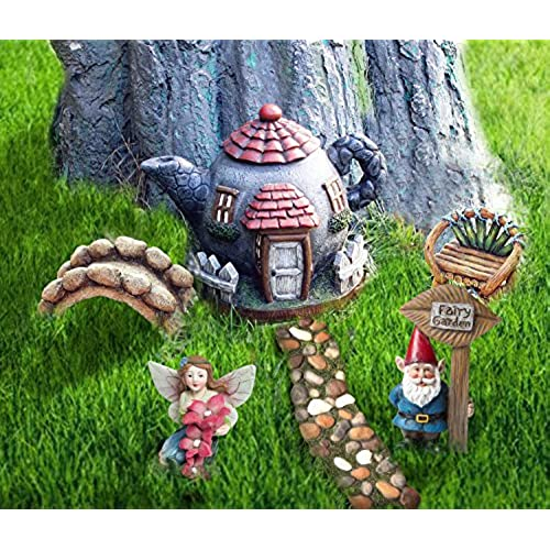 la jolie muse fairy garden accessories kit 6pcs miniature figurines house set hand painted fairies gnome statues for outdoor or home decor gifts - Large Garden Statues