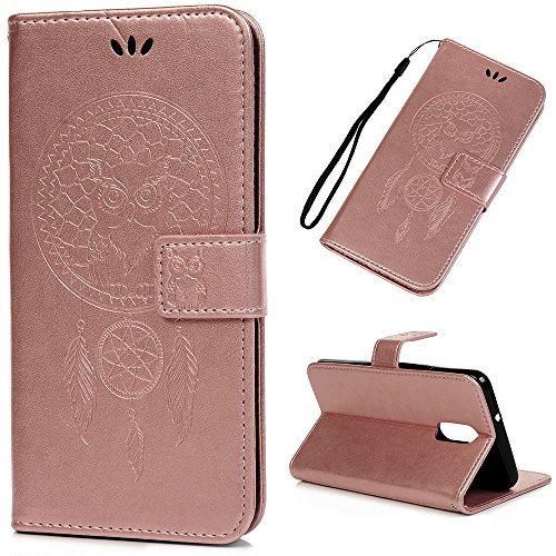 LG Stylo 4 Case LG Q Stylus Owl Dreamcatcher Wallet Case PU Leather Magnetic Flip Cover Shock Resistant Flexible Soft TPU Protective Bumper with Card Slots Kickstand Lanyard for LG Stylus 4 Rose Gold