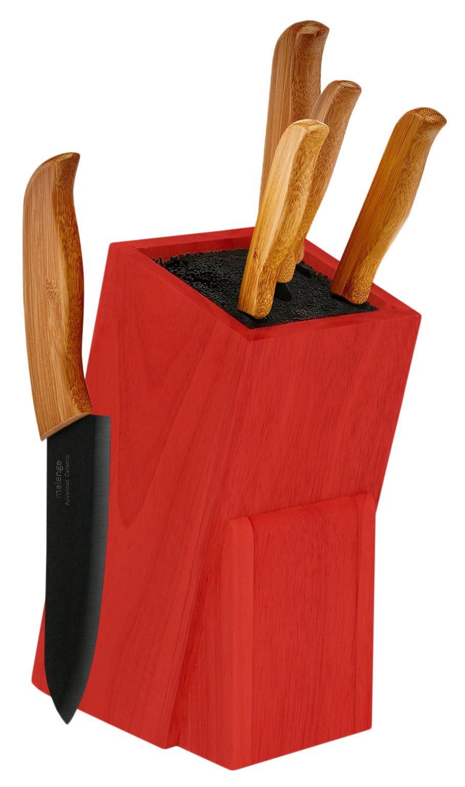 Melange 6-Piece Bamboo Handle and Black Blade Ceramic Knife Set with Red Wood Universal Knife Block