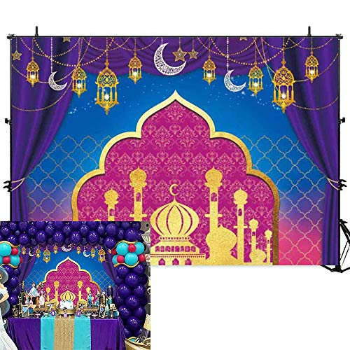 Allenjoy Nights Magic Genie Theme Backdrop Arabian Moroccan Birthday Party Decor Banner 7x5ft Gold Glitter Indian Bollywood Princess Sweet 16 Baby Shower Photography Background Photobooth Props]()