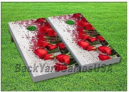 Wedding Roses CORNHOLE BEANBAG TOSS GAME w Bags Rustic Elegant Wooden Board 118
