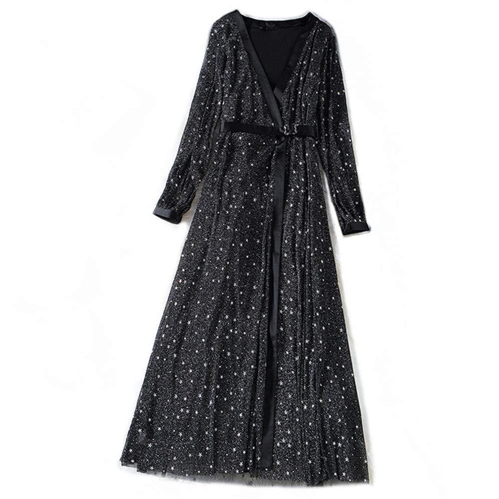 Black Women's Cocktail Party Dress Women Ladies Elegant Dress Deep V Neck Long Sleeve Glitter Star Mesh Long Dress Casual Tunic ALine Swing Dress Fit & Flare Dress Pencil Dress (color   Black, Size   L)