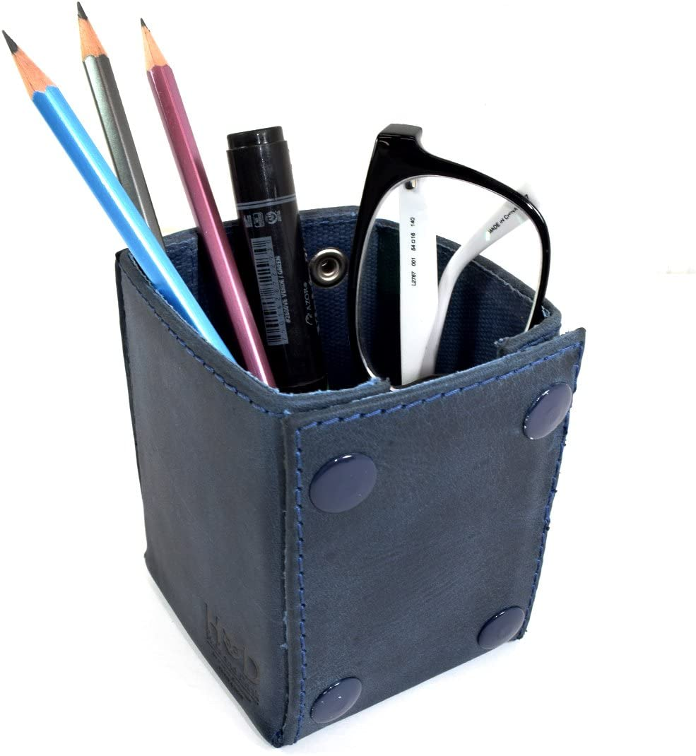 Leather & Waxed Canvas Pen & Pencils Desktop Tray/Office Supplies Organizer/Work Box :: Blue Mar