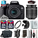 Canon EOS Rebel 800D/T7i Camera + 18-55mm IS STM Lens + 64GB Class 10 Memory Card + 2yr Extended Warranty + 32GB Class 10 Memory Card + Backup Battery + Canon Bag + Tulip - International Version