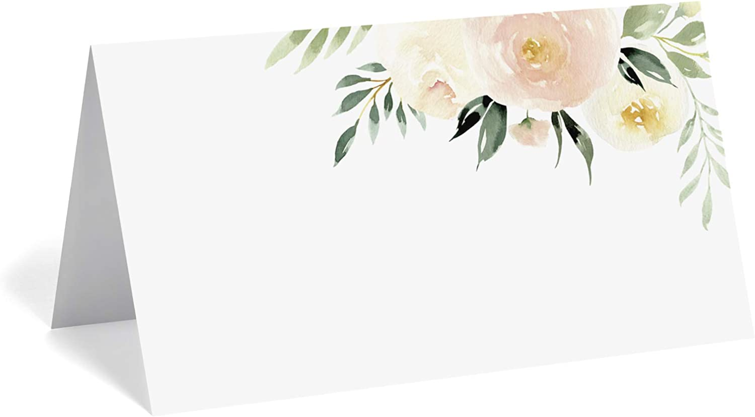 Bliss Collections Floral Place Cards for Wedding or Party, Seating Place Cards for Tables, Scored for Easy Folding, Blush Flower Design 50 Pack, 2 x 3.5 Inches