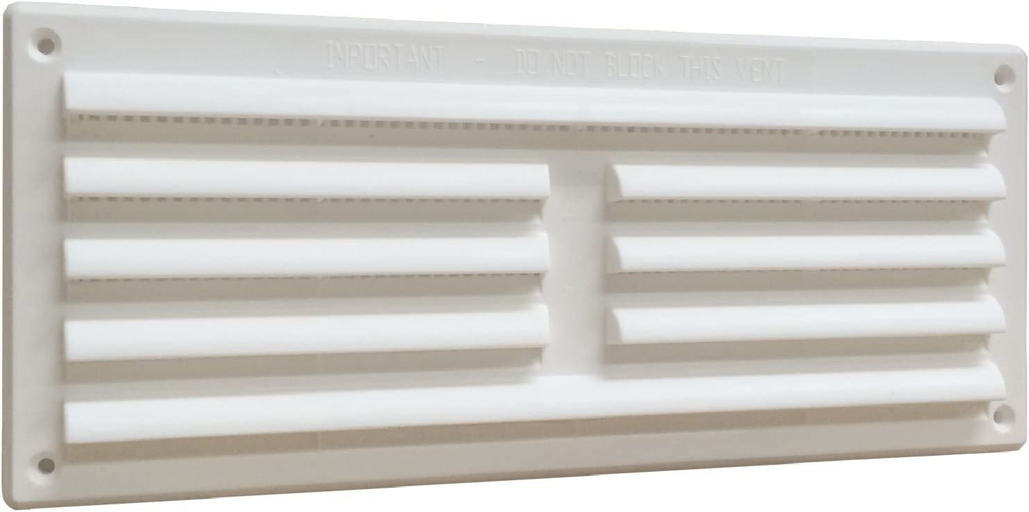 """Home Smart Plastic Louvre Air Vent Grille With Removable Flyscreen Cover 9"""" X 3"""" White"""