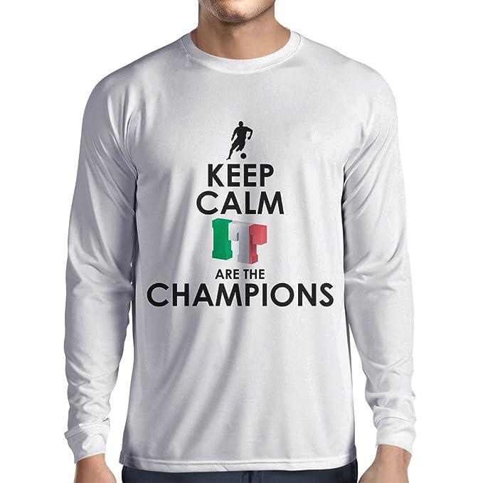 Camiseta de Manga Larga para Hombre Los Italianos Son los campeones, el Campeonato de Rusia 2018, la Copa del Mundo de Fútbol, el Equipo de Aficionados de ...