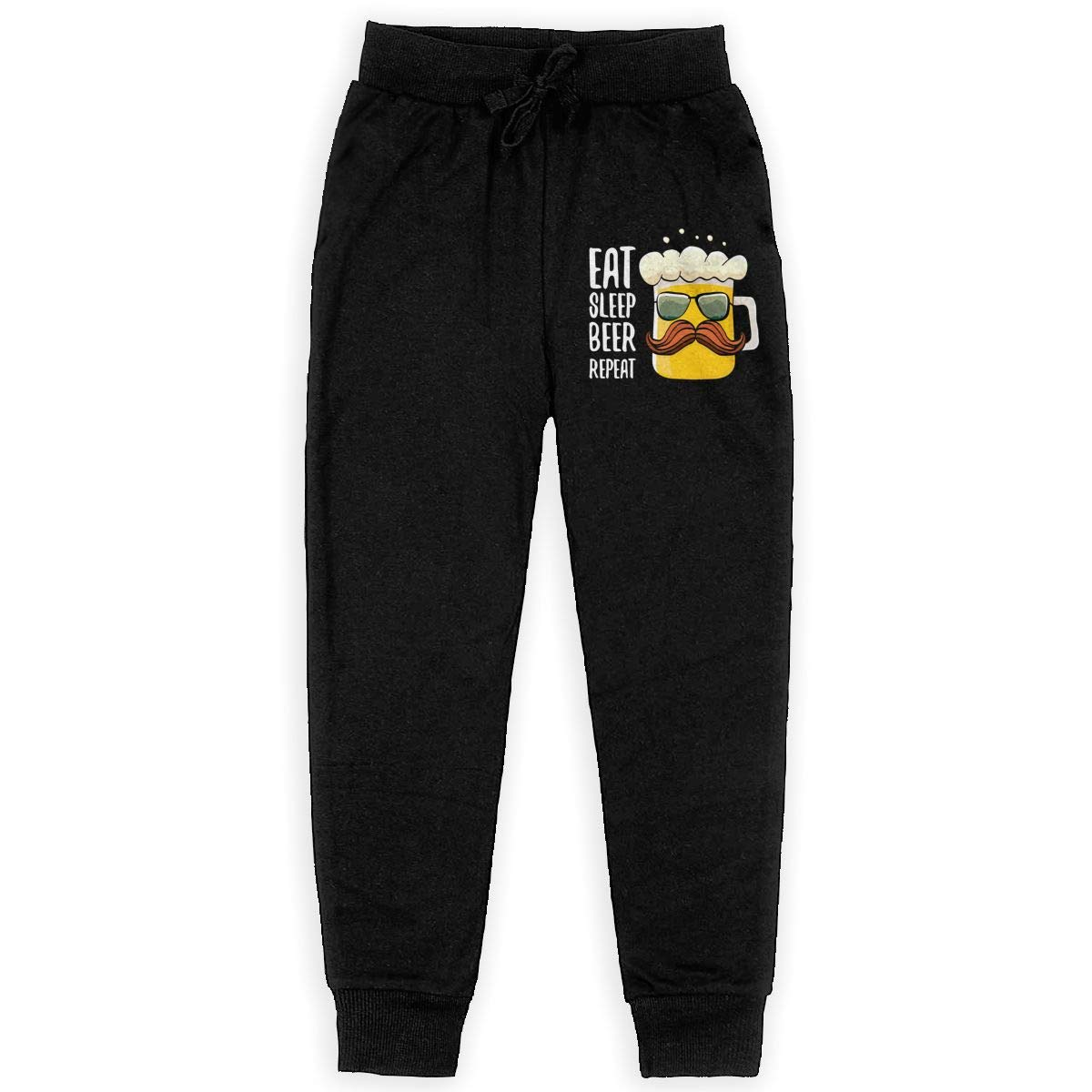 Xinding Boys Casual Sweatpants Eat Sleep Beer Repeat Adjustable Waist Pants with Pocket