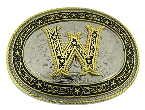 Initial W Belt Buckle Monogram Alphabet - Belt Buckle Multi