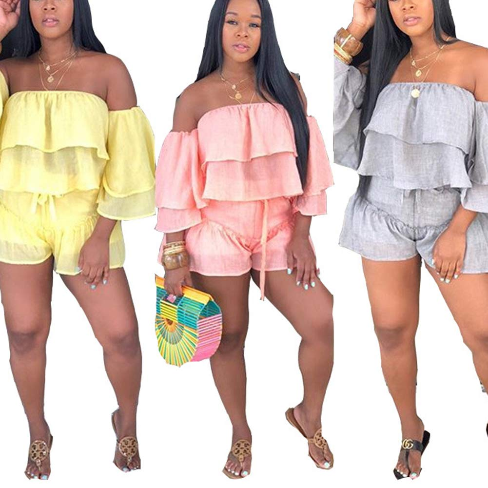 Salimdy Women Casual Solid 2 Piece Outfits Jumpsuits Off Shoulder Flounced Ruffle Crop Top Short Pants Set
