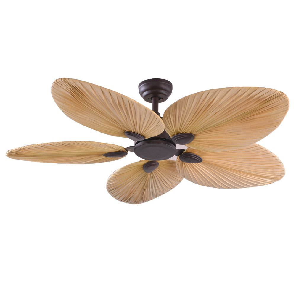 RainierLight Tropical Ceiling Fan Lamp Remote Control Led Light Chandelier for Bedroom/Living Room/Indoor 5 Creative Blades Mute Electric Fan (42inch)