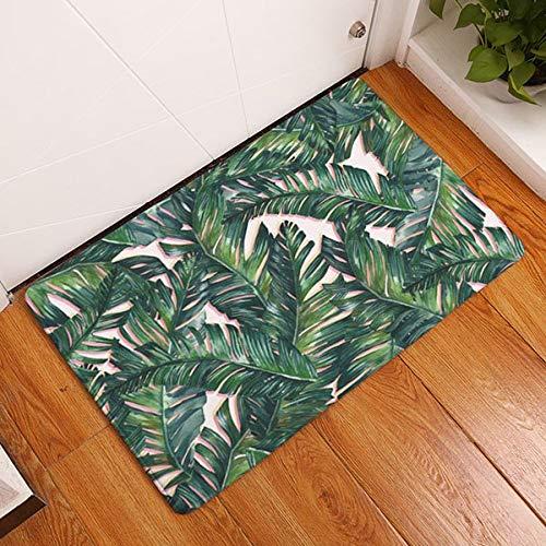 Funnmart Doormat Palm Leaf Flannel Kitchen Bathroom Anti Slip Rugs Home Entrance Floor Carpet Door Mat Decoration