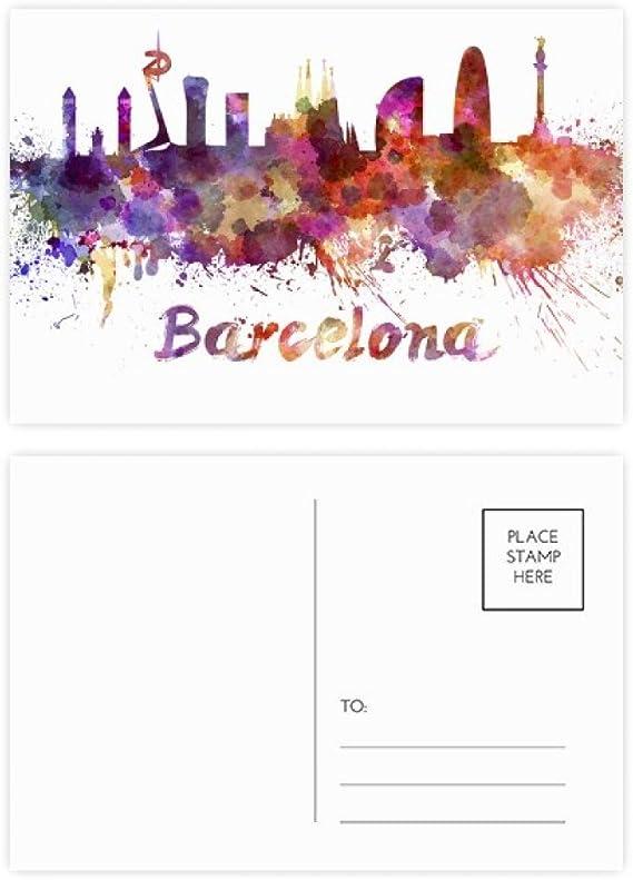 DIYthinker Gracias Barcelona, España Ciudad acuarela postal Conjunto de tarjeta de cumpleaños de correo lateral 20Pcs 5,7 pulgadas x 3,8 pulgadas Multicolor: Amazon.es: Oficina y papelería