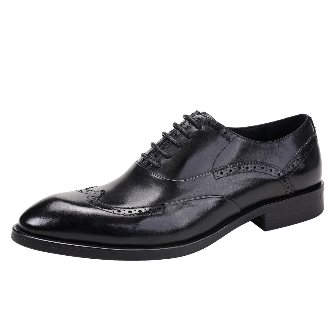 Black Genuine Leather Brogue for Mens Business Wedding Oxford Formal Up Lace shoes Party for