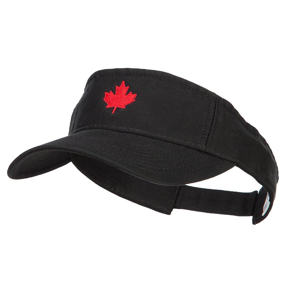 Canada Flag Maple Leaf Embroidered Pro Style Cotton Washed Visor - Black OSFM