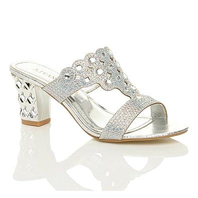6b7b6c494d13 Womens Ladies mid Block Heel Diamante gem Mules Slippers Sandals Size 3 36  Silver