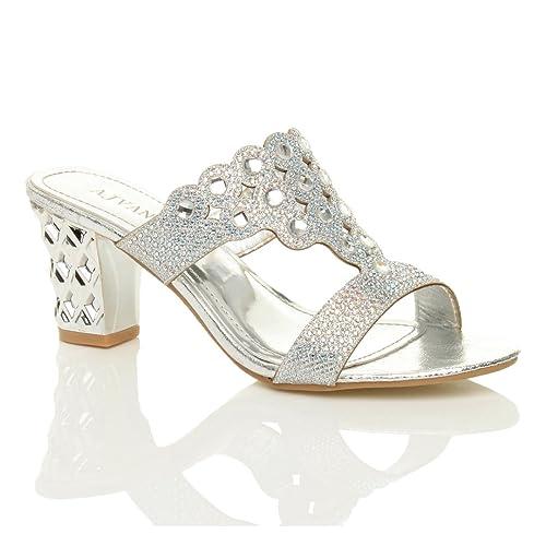 Ajvani Womens Ladies mid high Block Heel Prom Diamante Evening Slip on Mules Sandals Size