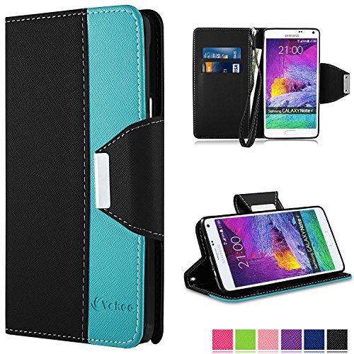 Note 4 Hülle - Vakoo Bookstyle Schutzhülle Flip Case Premium PU-Leder Tasche Hülle für Samsung Galaxy Note 4 (Schwarz Blau)