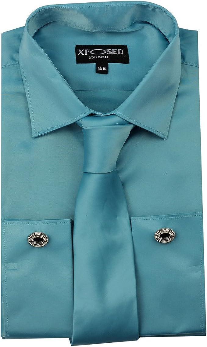 Xposed - Camisa de vestir formal para hombre con doble puño y tacto sedoso: Amazon.es: Ropa y accesorios