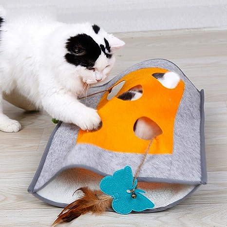 Pawaca Alfombra de Juegos para Gatos, túnel para Gatos y Saco de Dormir, escondite