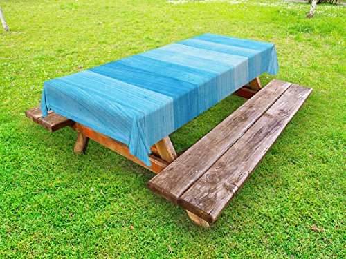 Outdoor Tablecloth, Wooden Planks Painted Texture Image Oak Tree Surface Maple Pine Board Stripes, Decorative Washable Picnic Table Cloth, 58 X 84 inches, Pale Blue ()