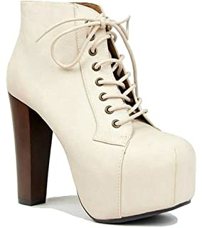 59ce790ecb2 Charlotte Russe Off White Chunky Heel Lace up Retro Ankle Bootie Women s  Shoes