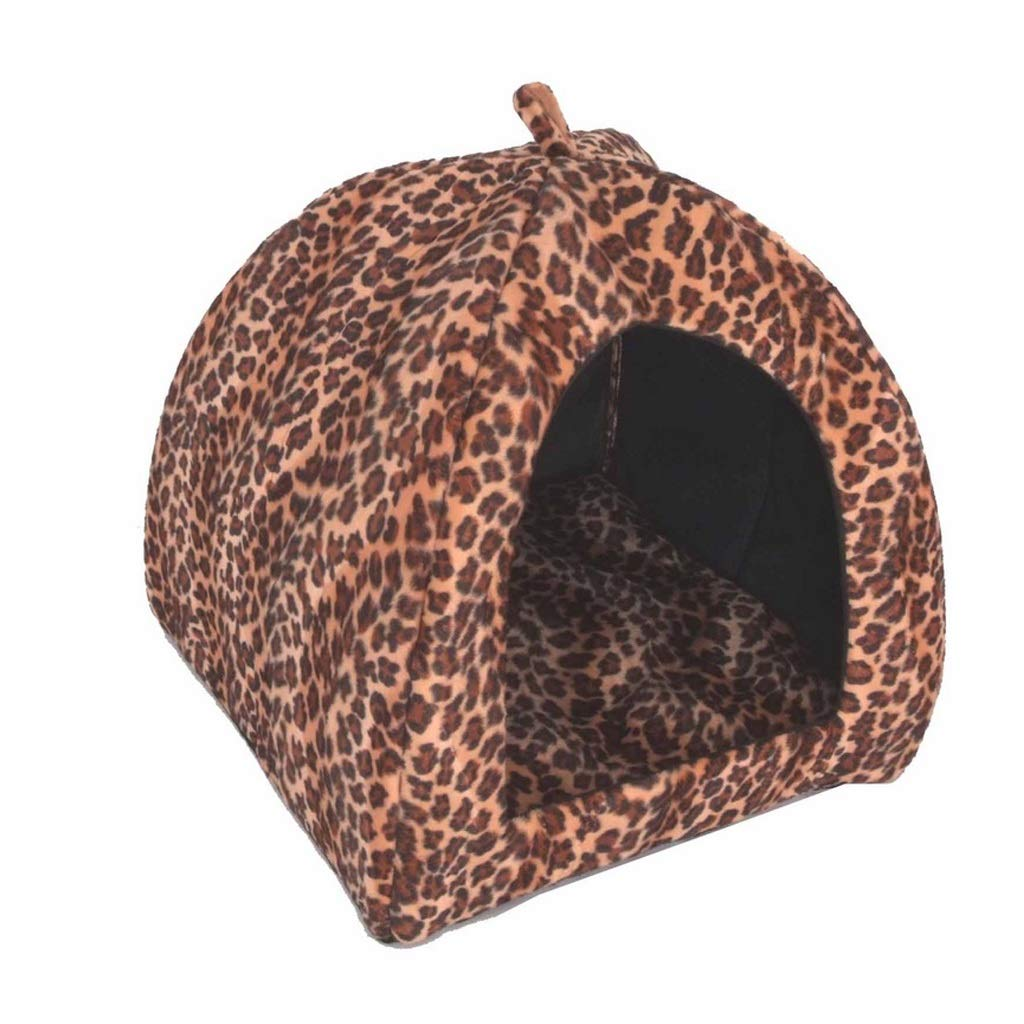 XL(5055CM) C_-1X Pet Bed, Animal Nest, Cat Litter, Kennel, Warmth, VIP Nest yurt, Cat House Dog House, (Leopard color S M L XL XXL) (Size   XL(50  55CM))