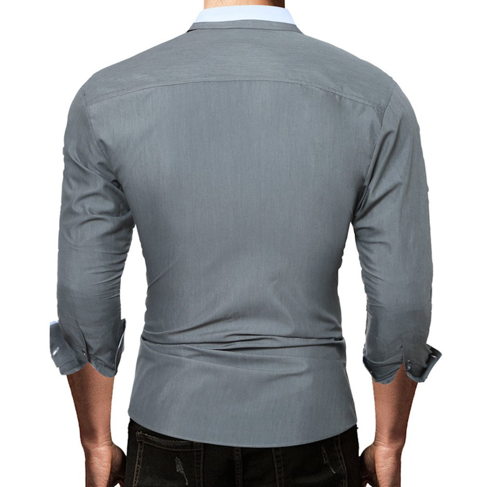 TAOtTAO - Camiseta de Manga Larga para Hombre, Color Liso, Gris, X ...