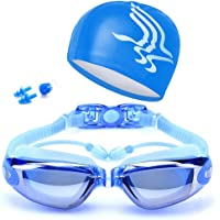 AOLVO anteojos de natación, profesional anteojos de natación antiniebla, protección UV sin fugas triatlón con siamés tapones para los oídos, nariz Clip, gorro de natación para hombres, mujeres